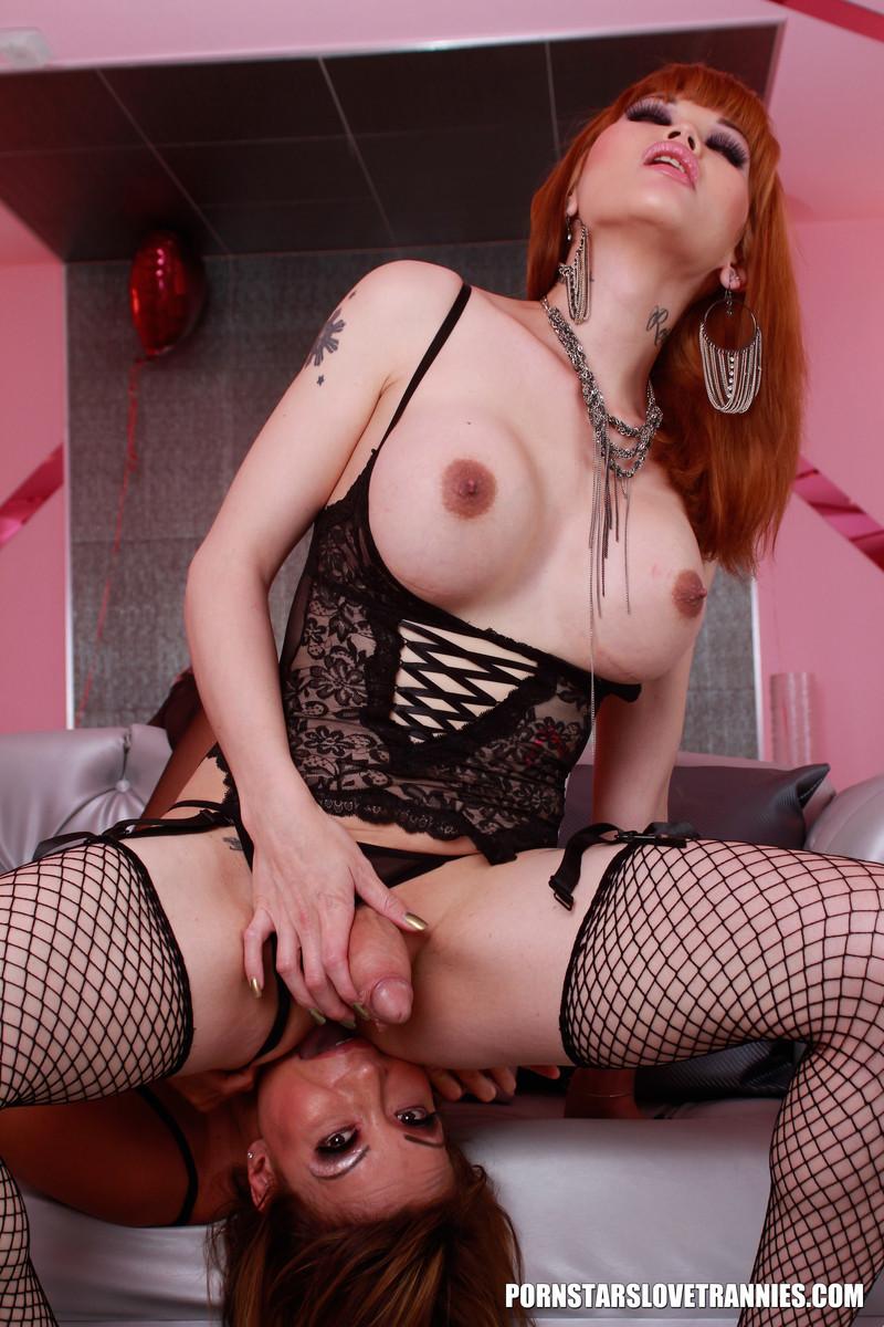 Трах порнозвезд Анны Девин и Евы Лин, здесь транс трахает сисястую телку