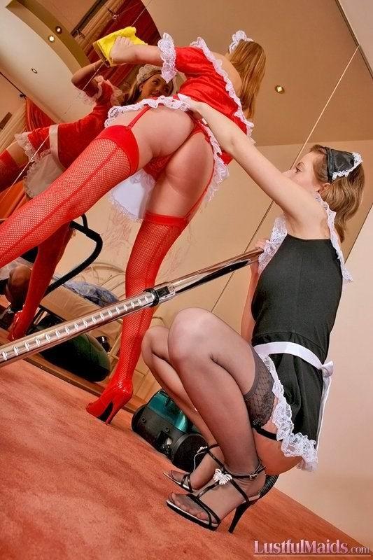 Лесбиянки трахаются под шум пылесоса, пока их мужья ушли играть в бильярд