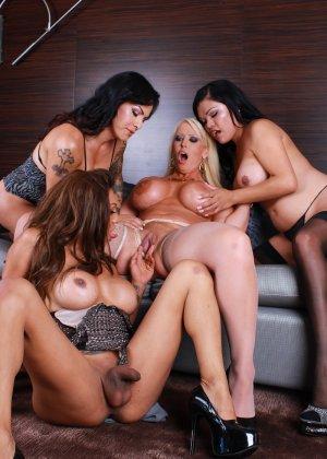 Сисястые телки трахаются с друзьями трансами после вечеринки для любителей экстремального траха - фото 10