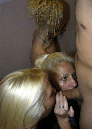 Трое опытных блондинок берутся отсасывать каждому прохожему мужику, стоя на коленях в подъезде - фото 14