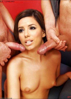 Латинская знаменитость Ева с удовольствием дает в пизду и попу разным мужикам, в конце обязательно остается со спермой на лице - фото 7