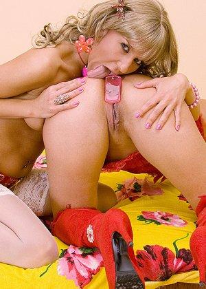 Горячие лесбиянки с хорошенькими телами используют в своих играх страпон - фото 1