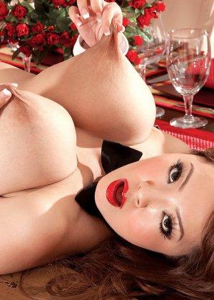 Азиатка с огромными сиськами позирует на камеру вывалив их на стол - фото 10