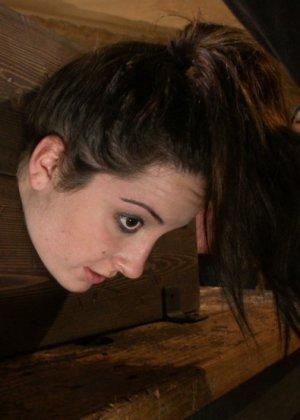 Все желающие могли поиздеваться над дырочками привлекательной брюнетки - фото 5