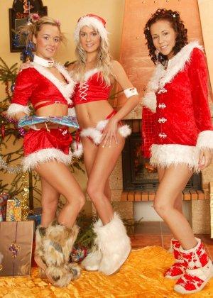 Горяченькие лесбиянки под елкой занимаются своим привычным развратом - фото 1