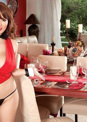 Азиатка Хитоми Танака с большими дойками достает развратную фото сессию, она мечтает познакомиться с богатым мужиком - фото 4