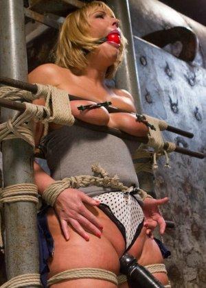 Жесткий мужик связав свою жену за измену издевается над ней вибратором - фото 6