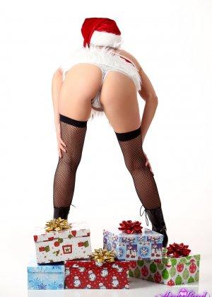 Энди Пинк в новогоднем образе показывает свое сексуальное тело и балуется с вибратором - фото 5
