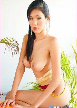 Ирен с ее темной волосатой вагиной и натуральными сиськами аппетитно выглядит, но застенчиво прикрывает анал - фото 5