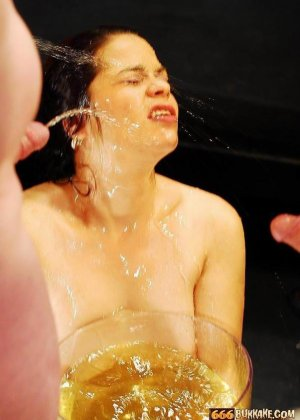 Золотой дождь телка принимает охотно, но когда ее лицом макают в тарелку с мочой, ей становится не до удовольствия - фото 9