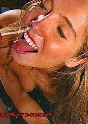 Куча спермы и мочи смешались во рту этой бляди - фото 15