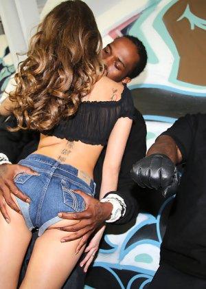 Райли Рейд с удовольствием отсасывает черные члены - фото 5