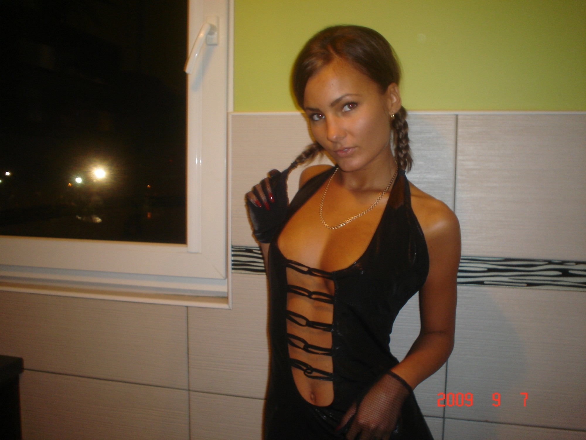 Шикарная голая дама в чулках