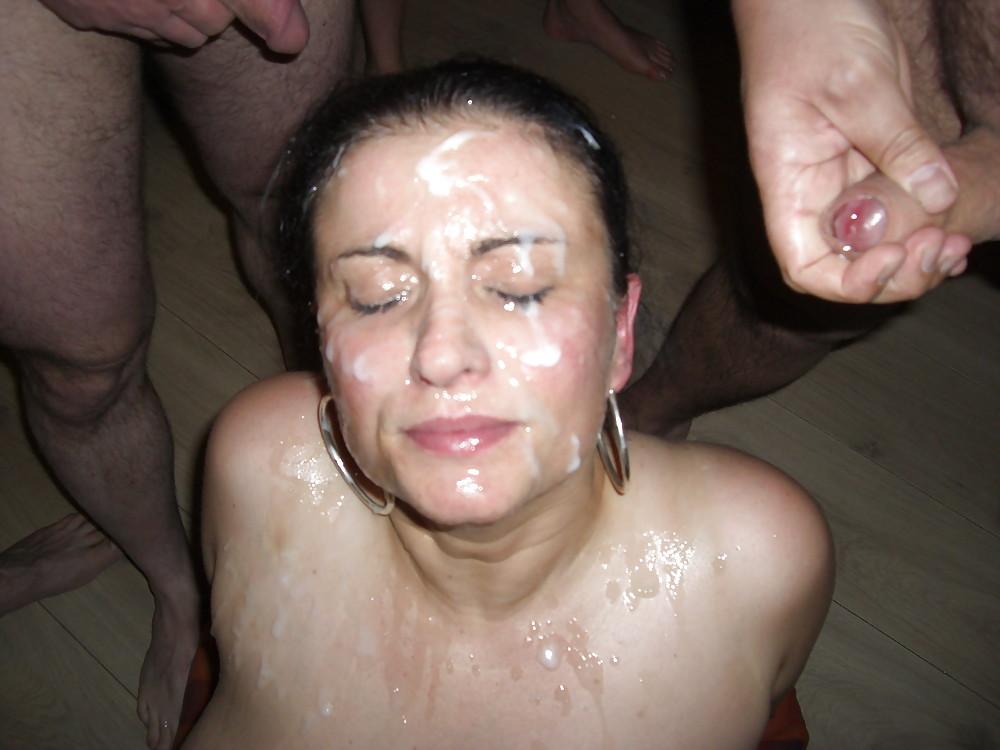 Сперма на лице моей жены