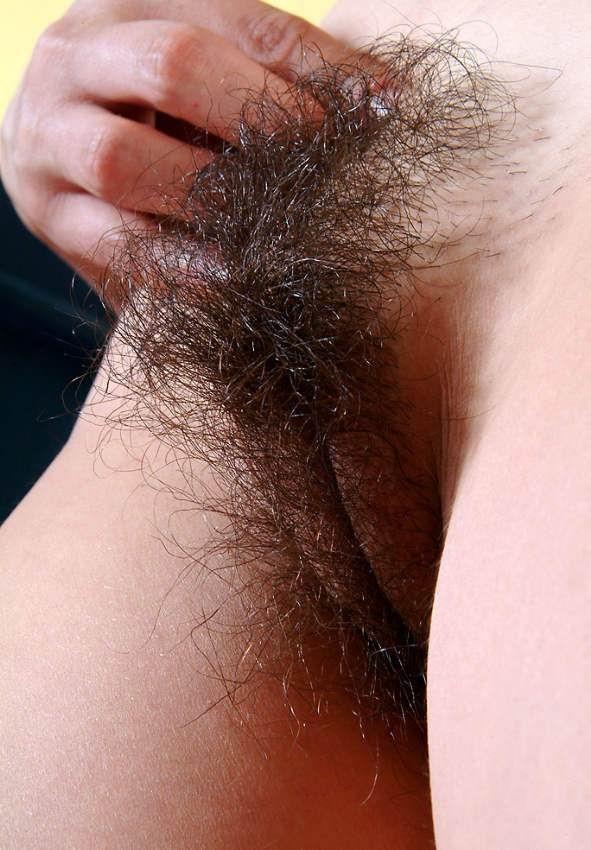 Очень мохнатая жопа и пиздень молоденькой брюнетки