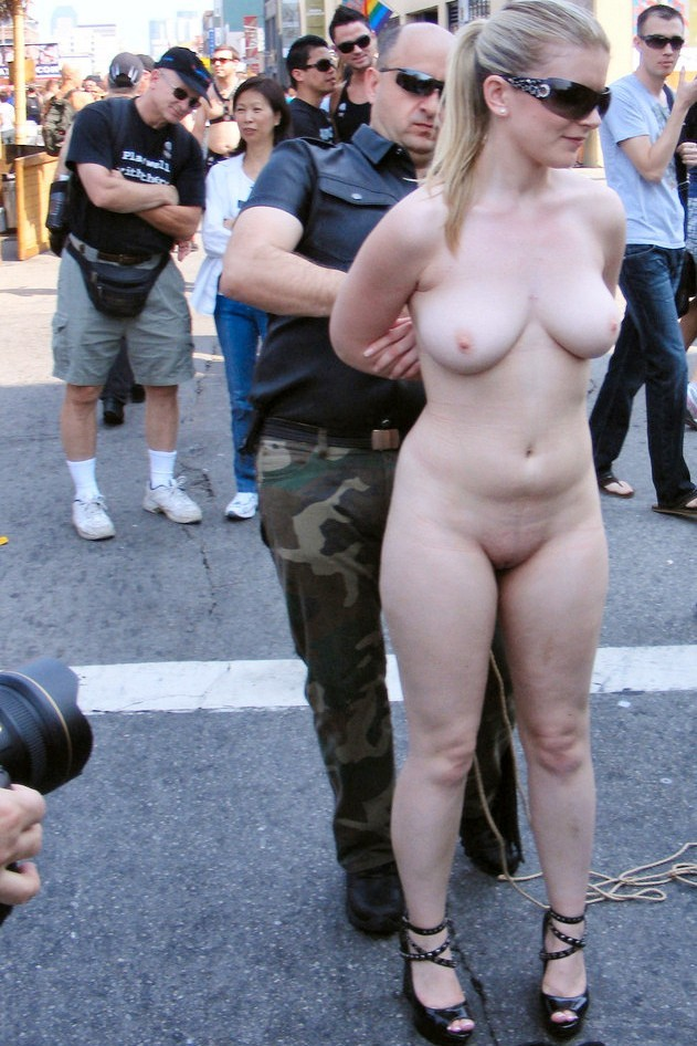 Naked woman in the street