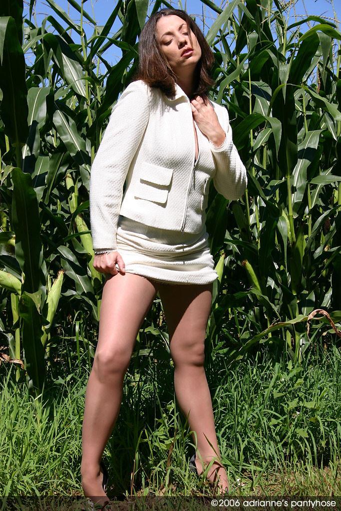 Милфа раздевается на кукурузном поле
